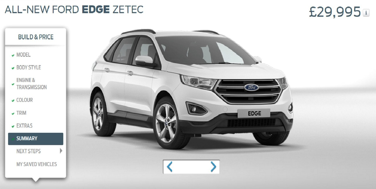 Ford Edge is now available on the www.ford.co.uk car configurator
