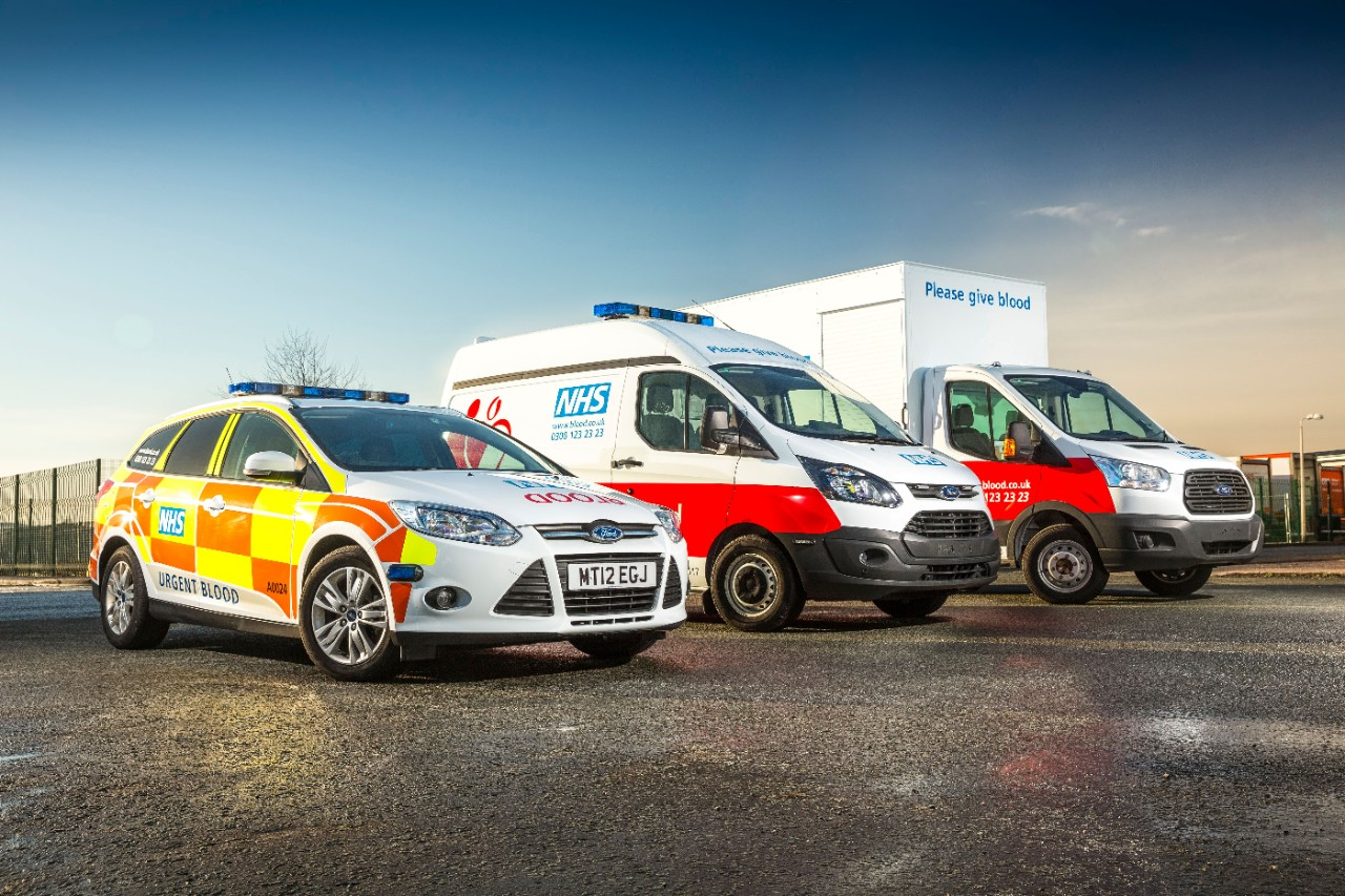 Ford Transit Custom joins the Ford Focus Estate and the Ford Transit on the NHSBT fleet 2
