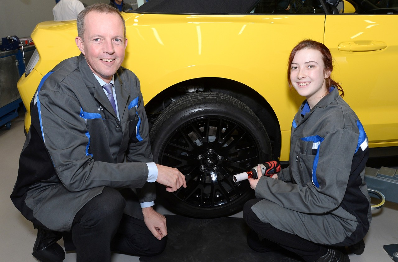 Skills Minister Nick Boles with Ford apprentice Leah Catton